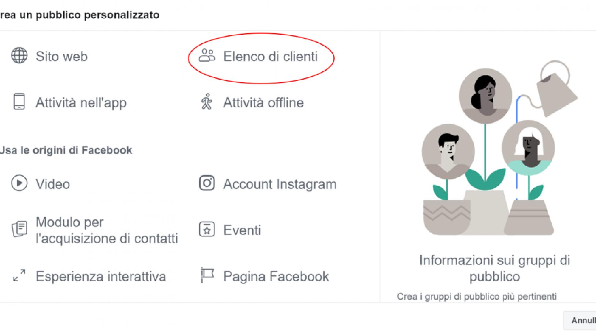 social media come si crea una campagna con pubblico personalizzato su Facebook/Instagram - Clink